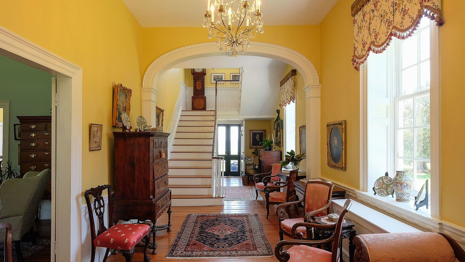 The entrance foyer of the Mulberry Hill manor house
