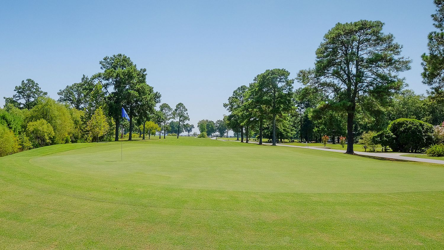 A green at the Links at Mulberry Hill to the left of the entrance drive to the clubhouse