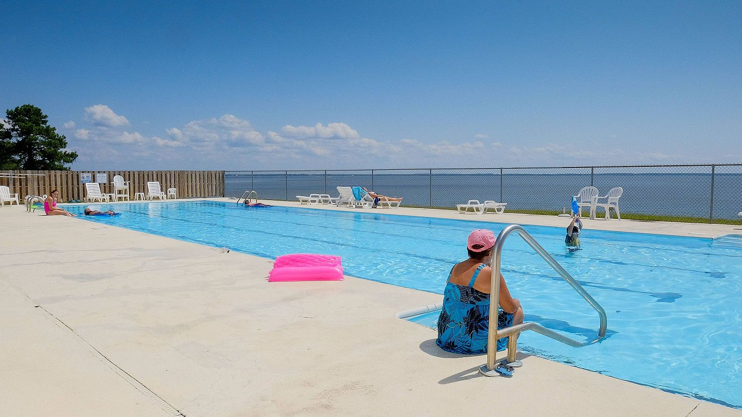The swimming pool at the Links at Mulberry Hill with the Albemarle Sound view